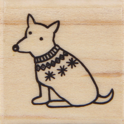 wood stamp - winter dog