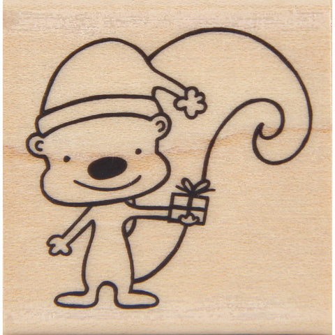 wood stamp - squirrel with gift