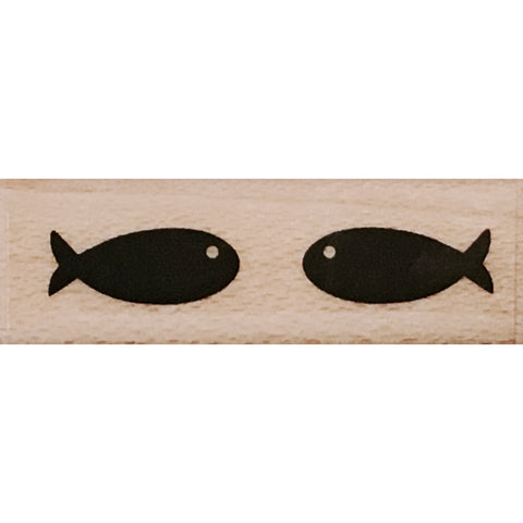 wood stamp - mini fishes