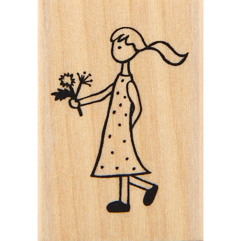 wood stamp - flower girl