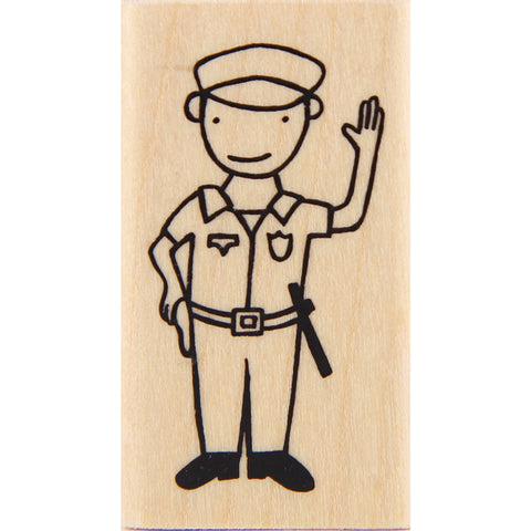 wood stamp - policeman
