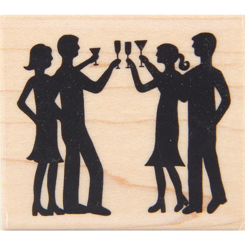 wood stamp - party silhouette