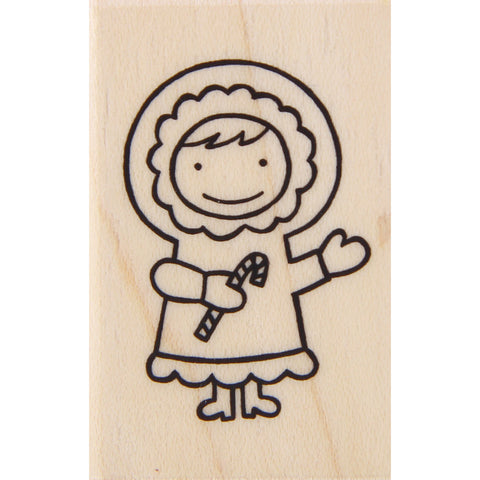 wood stamp - winter girl