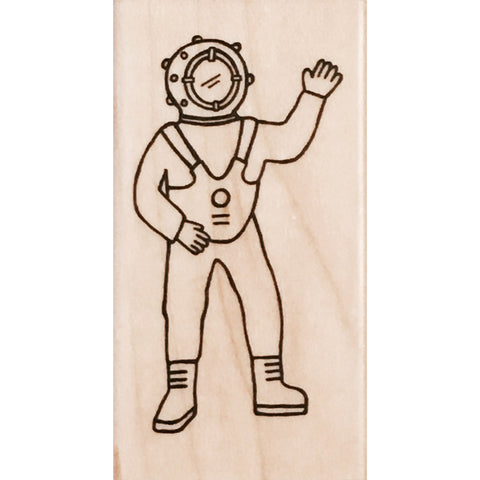 wood stamp - deep sea diver
