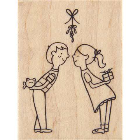 wood stamp - under the mistletoe
