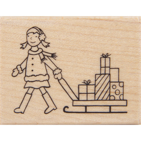 wood stamp - girl with sled