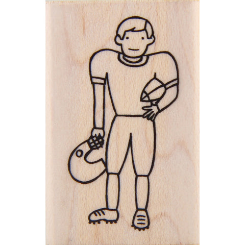 wood stamp - football player