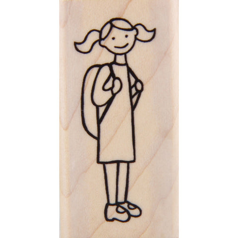 wood stamp - school girl