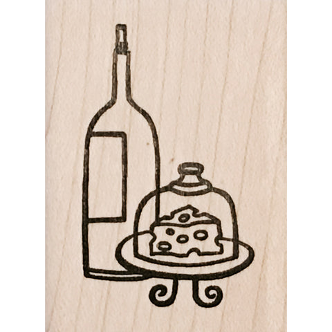wood stamp - wine and cheese