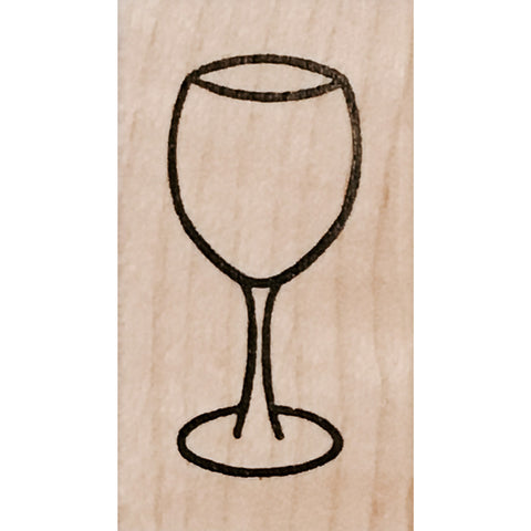 wood stamp - wine glass