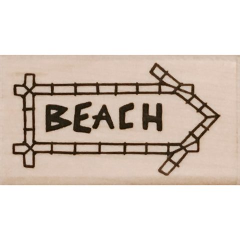 wood stamp - beach sign