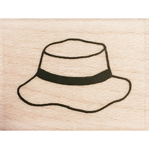 wood stamp - fishing hat