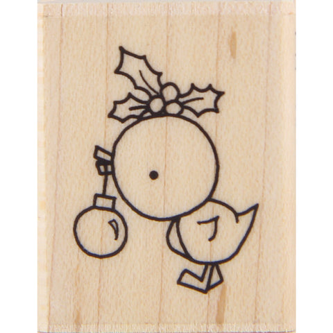 wood stamp - mb holiday bird