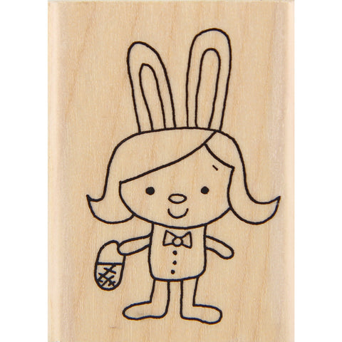 wood stamp - mb bunny girl