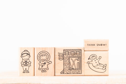 wood stamp set - think snow