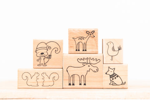 wood stamp set - critters