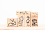 wood stamp set - sports