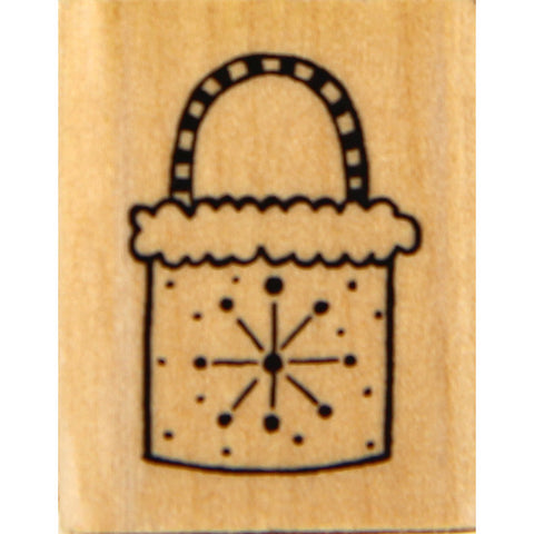 wood stamp - snow purse