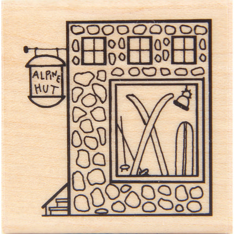 wood stamp - alpine hut