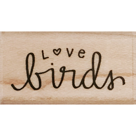 wood stamp - love birds MA