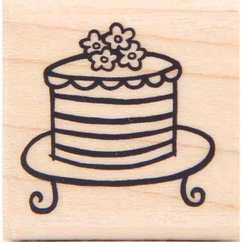 wood stamp - cake with flowers