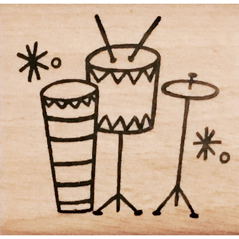 wood stamp - drum set