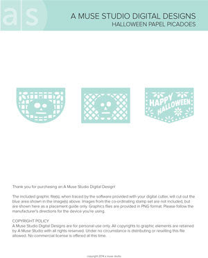 digital cut file - halloween papel picados
