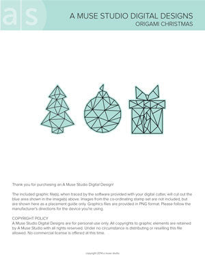 digital cut file - origami Christmas
