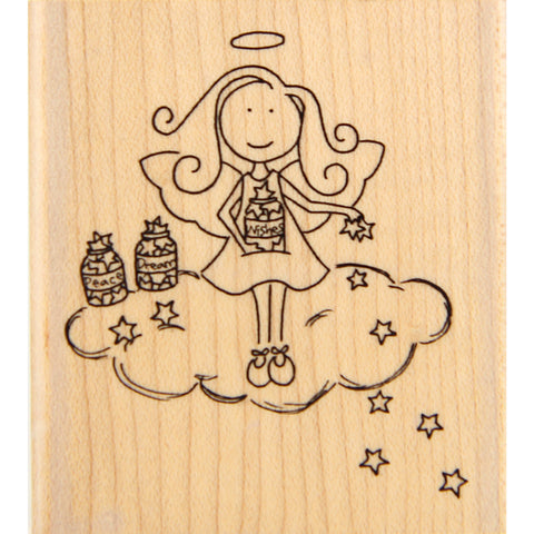 wood stamp - peace, dreams & wishes