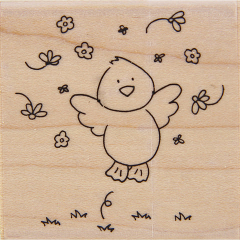 wood stamp - spring chick