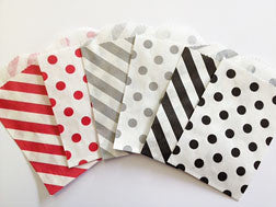 treat bags small - diagonal stripe - cherry