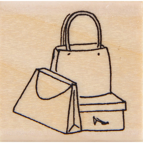 wood stamp - shopping bags