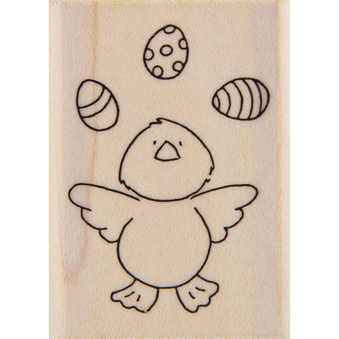 wood stamp - juggling eggs