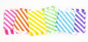 treat bags small - diagonal stripe - orange