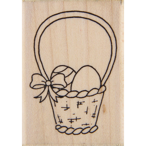 wood stamp - spring basket