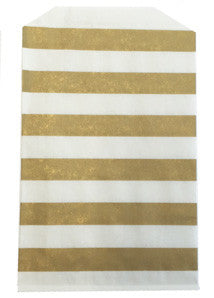 treat bags medium - horizontal stripe - gold