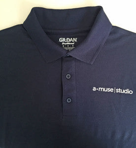 a muse studio navy polo shirt