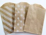 treat bags small - diagonal stripe - kraft