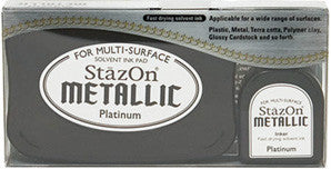 staz-on metallic platinum ink pad & refill