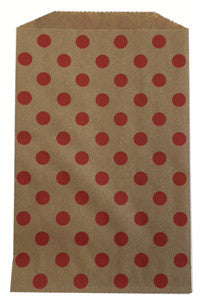 treat bags medium - polka dot - cherry on kraft