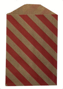 treat bags small - diagonal stripe - cherry on kraft