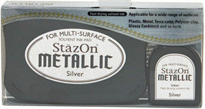 staz-on metallic silver ink pad & refill