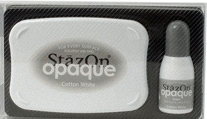 staz-on cotton white ink pad & refill