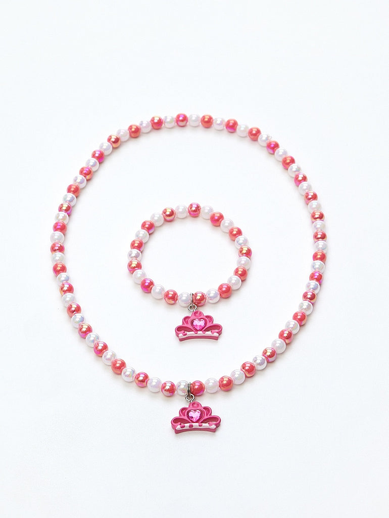 Tiara Necklace and Bracelet Set Fuchsia
