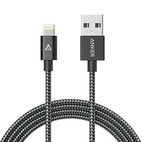 buy online c44ec d7e75 Anker 1.8M Nylon Braided USB Cable with Lightning Connector [Apple MFi  Certified] for iPhone 6s Plus / 6 Plus, iPad Pro Air 2 and More (Space Gray)