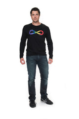 Men's Infinite Pride Rainbow Long Sleeve Black Graphic T-Shirt
