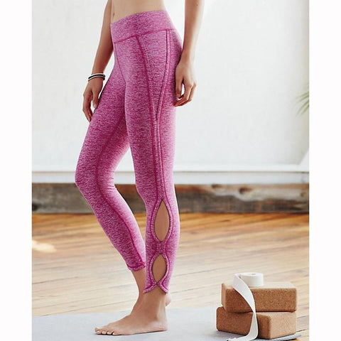 Ladies Yoga Infinity Symbol Cropped Leggings Yoga Leggings Pants  Pink Heather