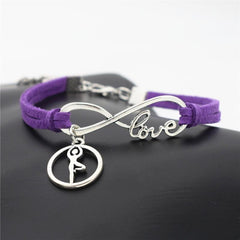 Leather Bracelet with Silver Tone Infinite Love & Yoga Dance Charms