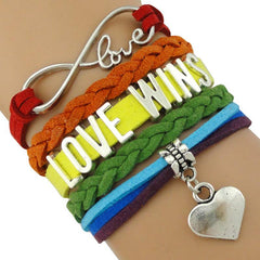 Pride LGBT Rainbow Infinity 'Love Wins' Leather Wrap Bracelet