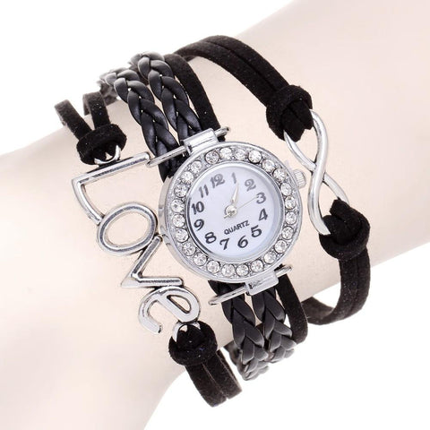 Black Braided Infinity Love Watch & Bracelet